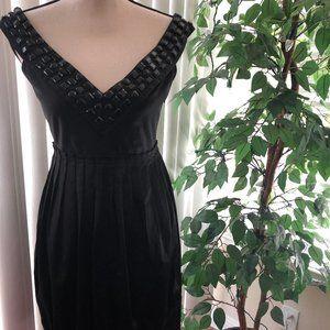 Zara Woman Black Cocktail Dress V Neckline w/Beads